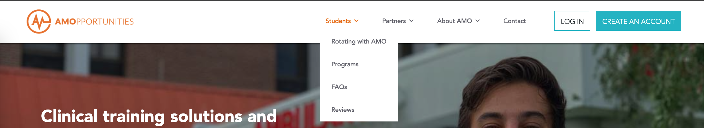 Preview of AMO's new website student tab
